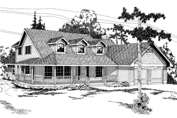 Country House Plan - Heartland 10-060 - Front Elevation