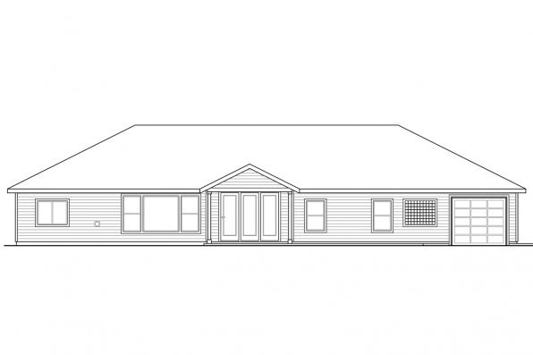 Country House Plan - Hollyview 30-554 - Rear Elevation