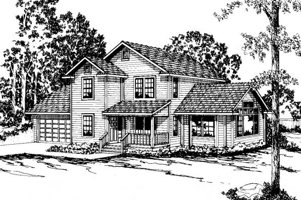 Country House Plan - Newberg 10-138 - Front Elevation