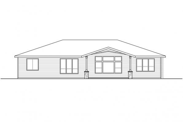 Country House Plan - Wasco 31-106 - Rear Elevation