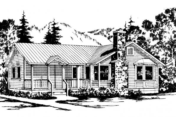 Country House Plan - Windham 41-003 - Front Elevation