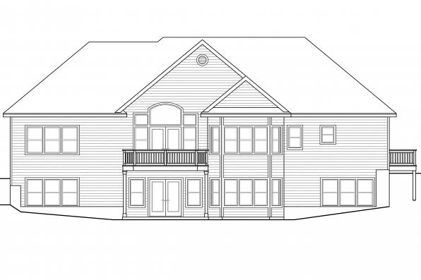 Craftsman House Plan - Hampshire 30-799 - Rear Elevation