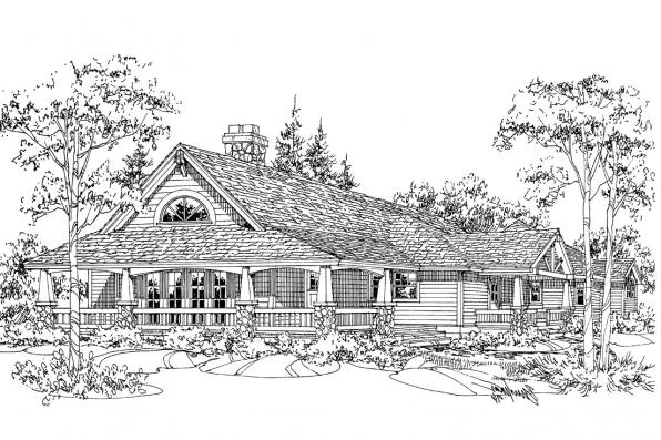 Craftsman House Plan - Palo Verde 41-015 - Front Elevation