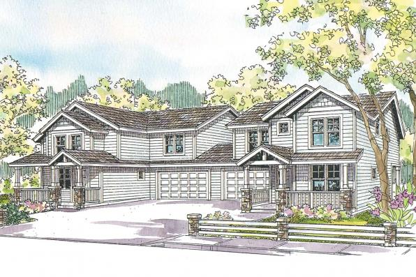 Duplex Plan - Waycross 60-018 - Front Elevations