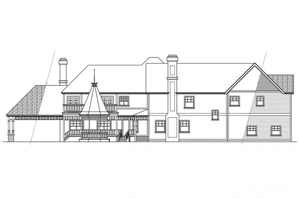 Estate House Plan - Victorian 10-027 - Rear Elevation