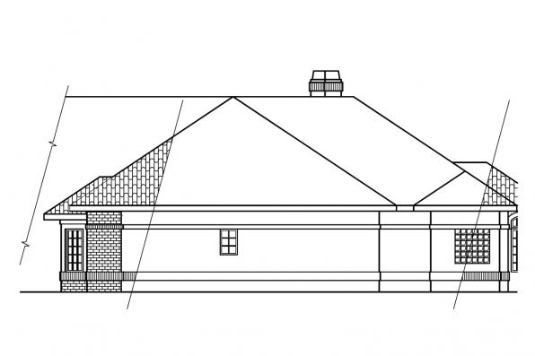European House Plan - Braxton 11-040 - Left Elevation