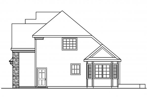 European House Plan - Fitzgerald 30-492 - Left Elevation