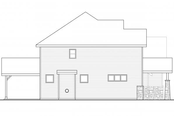 European House Plan - Forest Grove 30-954 - Right Elevation