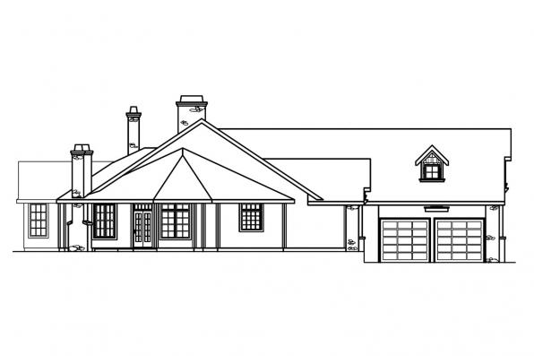 European House Plan - Gideon 30-256 - Right Elevation