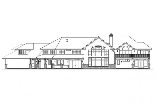 European House Plan - Jacksonville 30-563 - Rear Elevation