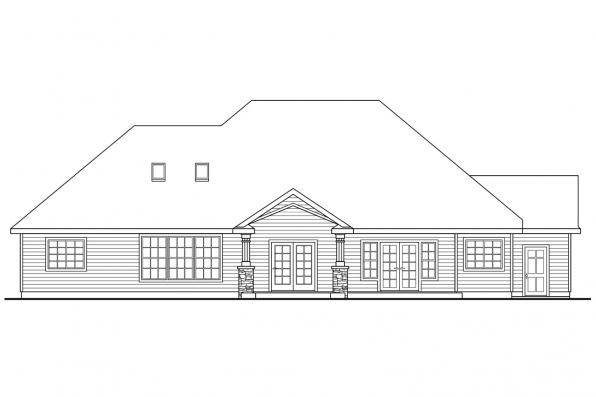 European House Plan - Springheart 10-530 - Rear Elevation