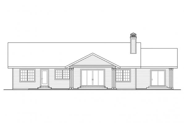 Florida House Plan - Heartville 10-560 - Rear Elevation