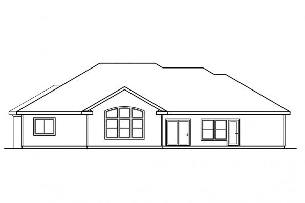 Florida House Plan - Roselle 30-427 - Rear Elevation
