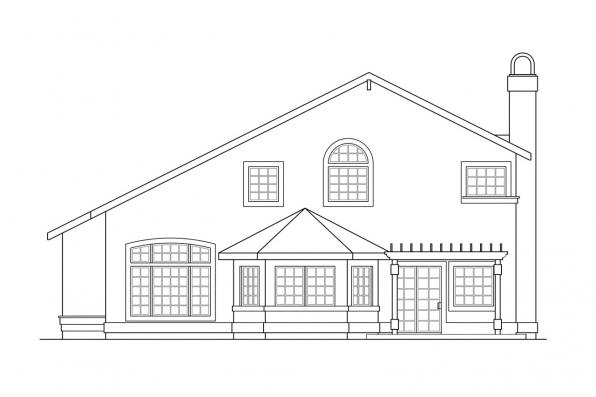 Florida House Plan - Santa Clara 50-003 - Rear Elevation