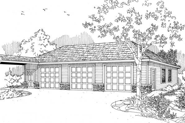 Garage Plan 20-009 - Front Elevation