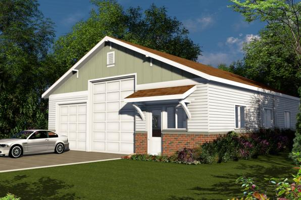 Traditional house plans rv garage 20 131 associated for Rv garage plans with workshop