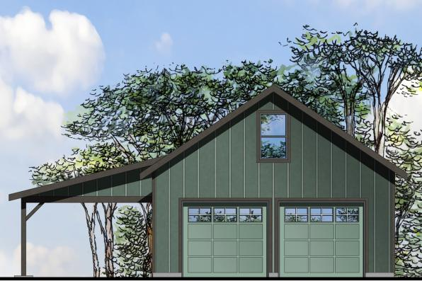 Front Elevation With Garage : Country house plans garage w shop associated