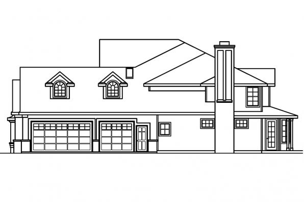 Georgian House Plan - Bellingham 30-429 - Left Elevation