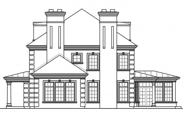 Georgian House Plan - Edgewood 30-313 - Left Elevation