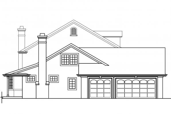 Georgian House Plan - Palmary 10-404 - Right Elevation