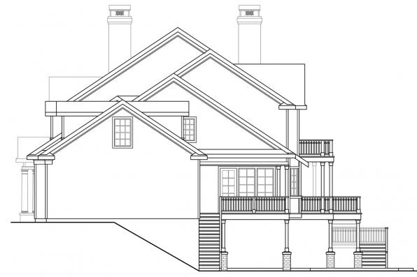 Georgian House Plan - Princeton 30-497 - Left Elevation
