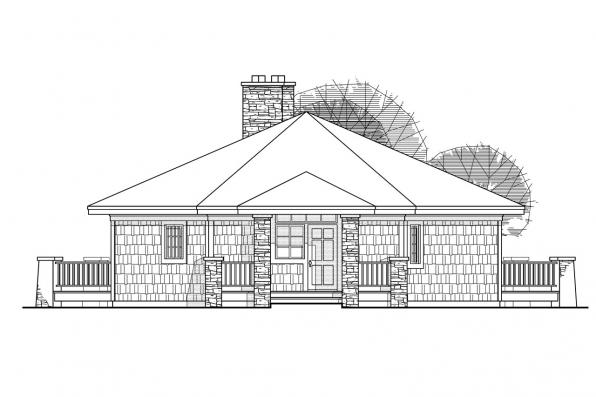 Hexagonal House Plan - Grandview 10-249 - Front Elevation