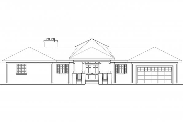 Hexagonal House Plan - McKinley 10-181 - Front Elevation