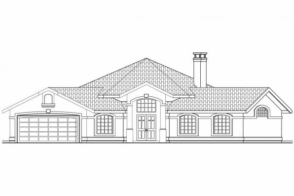 Hexagonal House Plan - Sierra 11-076 - Front Elevation