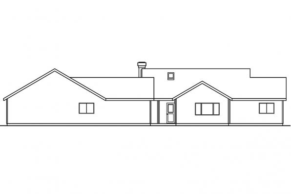 House Plan with Detached Garage - Kinglsey 30-184 - Rear Elevation
