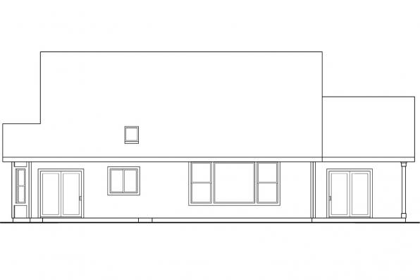 House Plan with Mud Room - Everett 30-176 - Rear Elevation