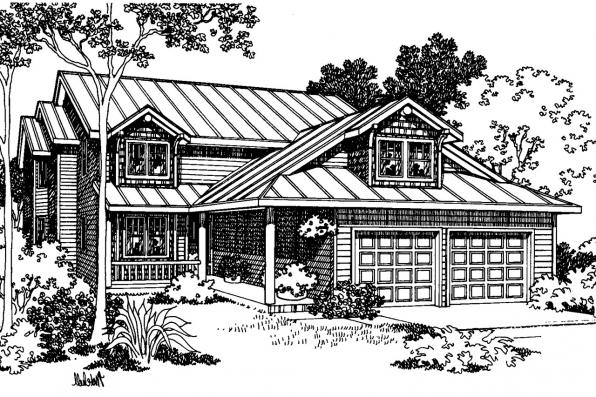 Lodge Style House Plan - Deschutes 30-150 - Front Elevation