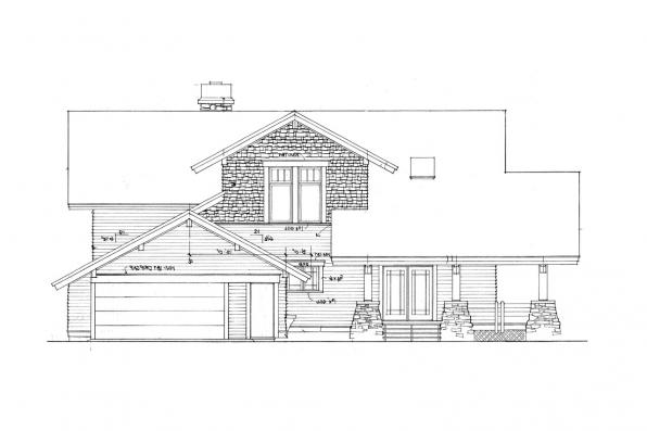 Lodge Style House Plan - Huntington 42-017 - Right Elevation