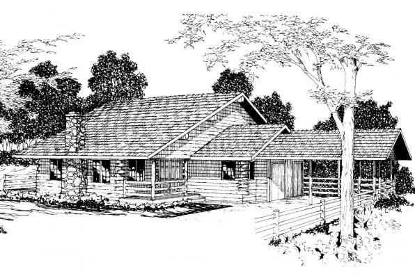 Lodge Style House Plan - Wickiup 30-116 - Front Elevation