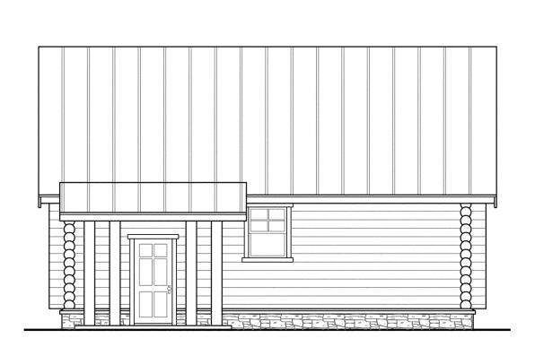 Log Garage Plan 20-012 - Right Elevation