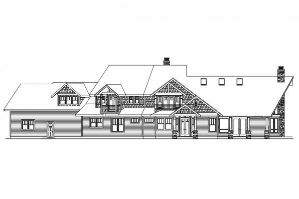Luxury House Plan - Brookport 30-692 - Rear Elevation