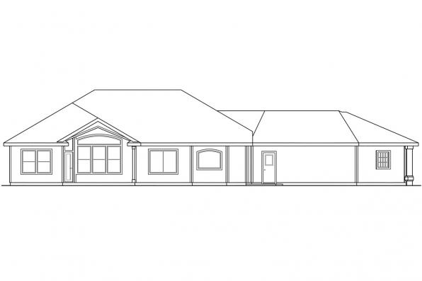 Luxury House Plan - Dawson 30-140 - Rear Elevation