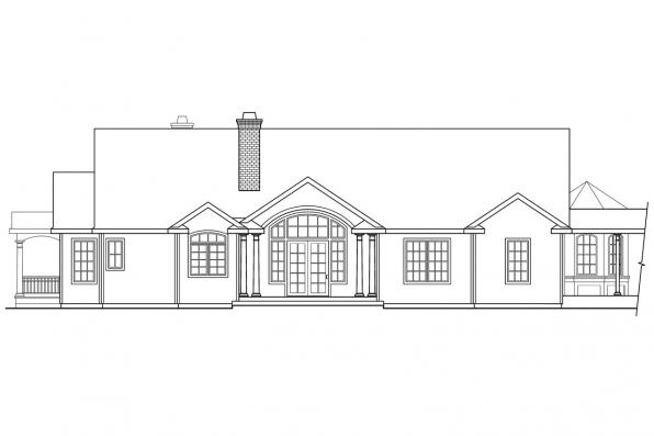 Luxury House Plan - Greenbriar 10-401 - Rear Elevation