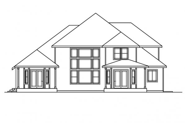 Luxury House Plan - Hastings 30-361 - Rear Elevation