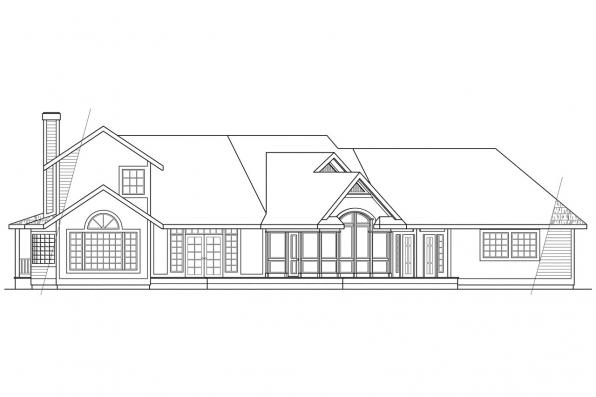 Luxury House Plan - Hayward 10-134 - Rear Elevation