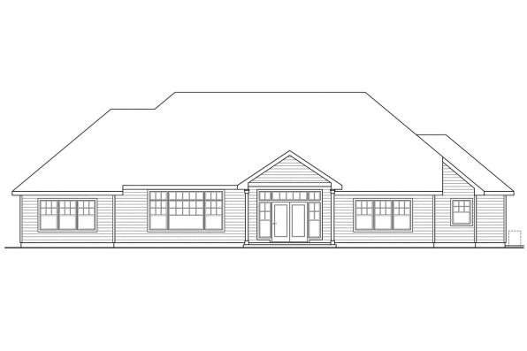 Luxury House Plan - Heartington 10-550 - Rear Elevation