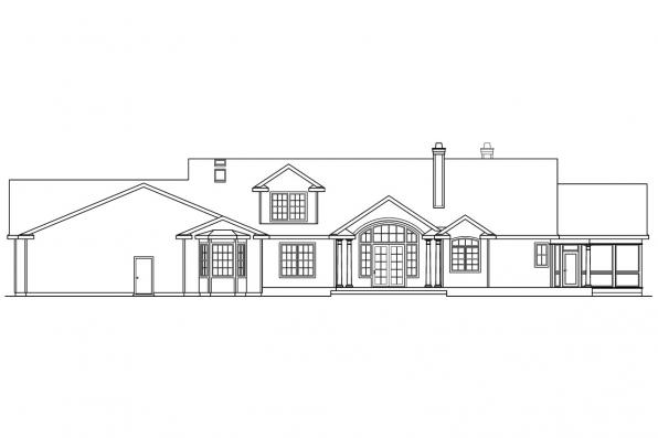 Luxury House Plan - Louisville 10-431 - Rear Elevation