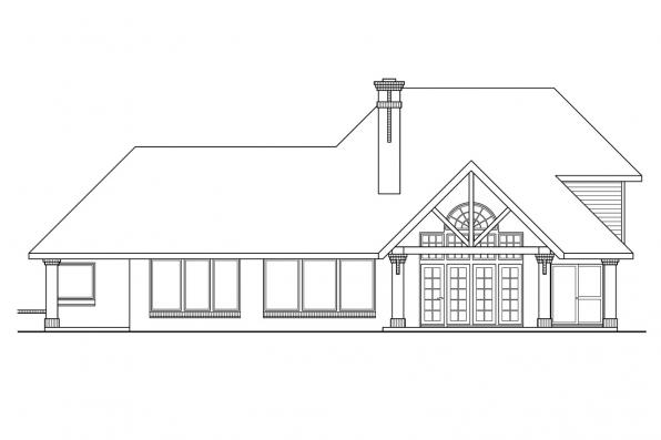 Luxury House Plan - Marcellus 10-301 - Rear Elevation