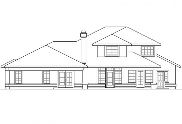Luxury House Plan - Pasadena 11-140 - Rear Elevation