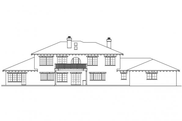 Luxury House Plan - Vercelli 30-491 - Rear Elevation