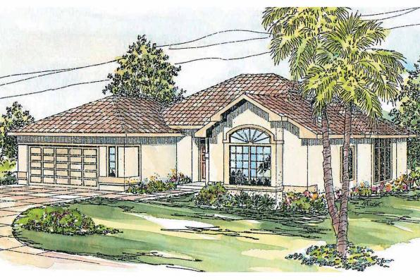 Mediterranean House Plan - Calabro 11-083 - Front Elevation