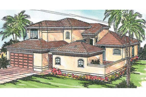 Mediterranean House Plan - Coronado 11-029 - Front Elevation