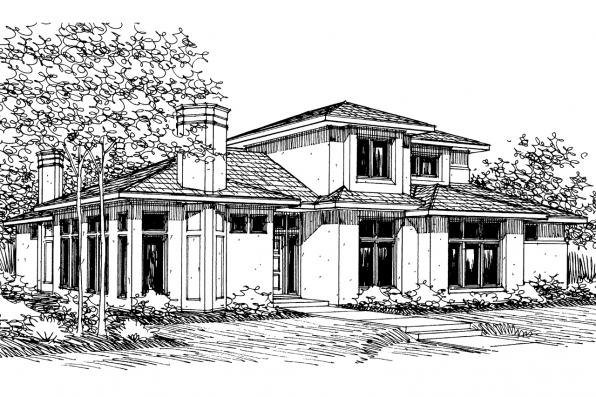Mediterranean House Plan - Deveroux 10-354 - Front Elevation