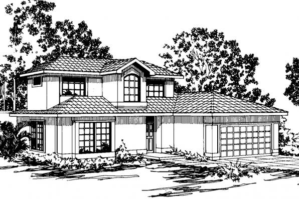 Mediterranean House Plan - Malibu 11-054 - Front Elevation