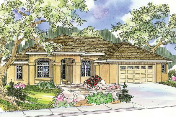 Mediterranean house plans mendocino 30 681 associated for Mediterranean elevation