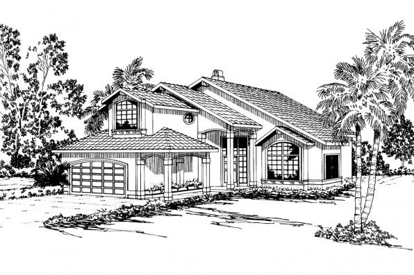 Mediterranean House Plan - Santa Clara 50-003 - Front Elevation